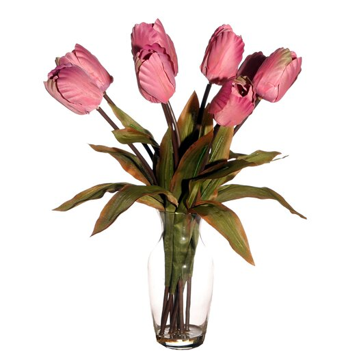 Vickerman Co. Floral Artificial Potted Tulips in Pink