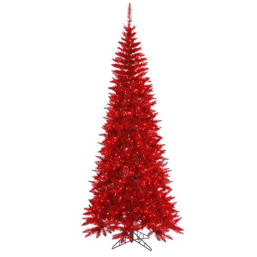 """Vickerman Co. 6' 5"""" Red Colorful Slim Fir Artificial Christmas Tree with 400 Mini Lights"""