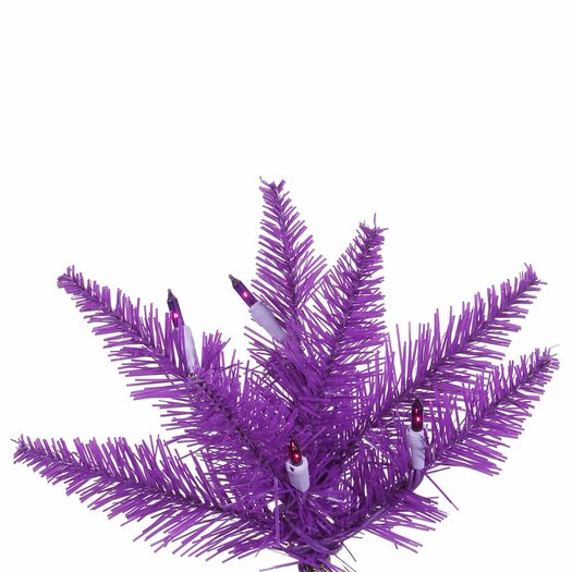 Vickerman Co. 7.5' Purple Slim Fir Artificial Christmas Tree with 500 Mini Lights