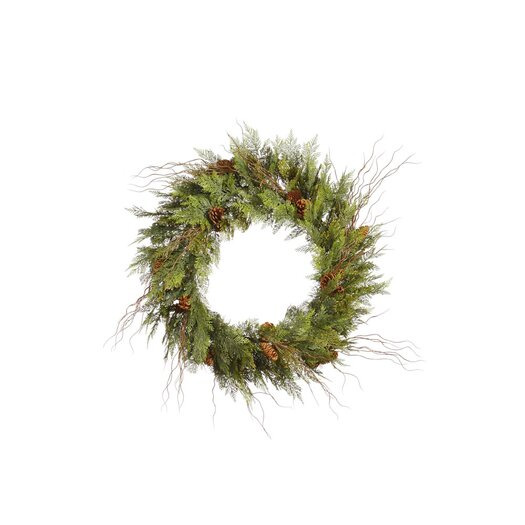 Vickerman Co. Cedar Twig Pine Cone Wreath with 160 Tips