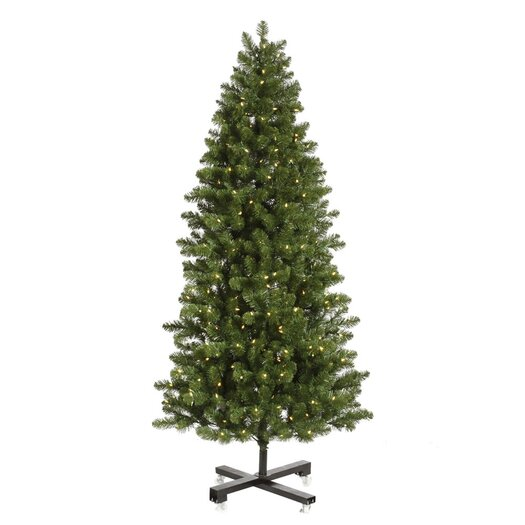 Vickerman Co. Grand Teton 7.5' Slim Green Artificial Christmas Tree with 650 LED White Lights