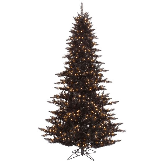Vickerman Co. 7.5' Black Fir Artificial Christmas Tree with 750 Mini Clear Lights