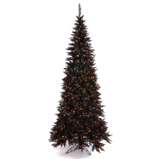 Vickerman Co. 5.5' Black Slim Fir Artificial Christmas Tree with 300 Mini Orange Lights