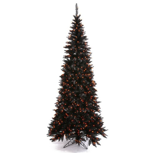 Vickerman Co. 9' Black Slim Fir Artificial Christmas Tree with 700 Mini Orange Lights