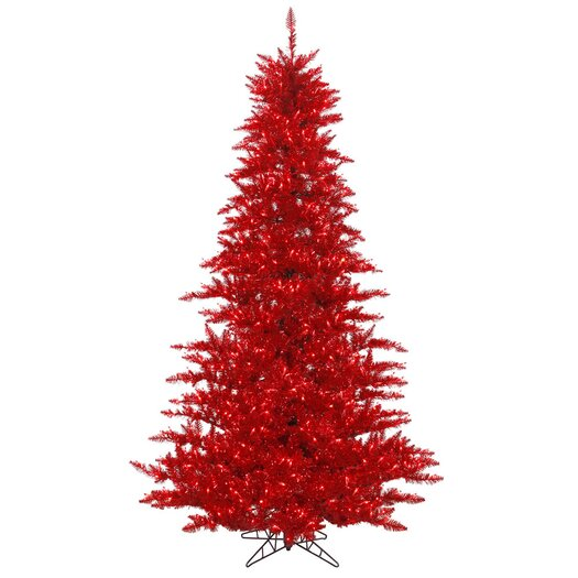 Vickerman Co. 6.5' Tinsel Red Fir Artificial Christmas Tree with 600 Mini Clear Lights