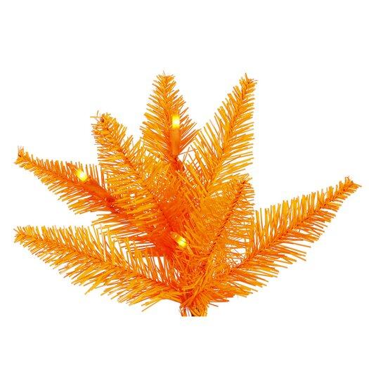 Vickerman Co. 7.5' Orange Slim Fir Artificial Christmas Tree with 500 Mini Lights