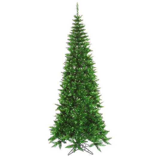 Vickerman Co. 7.5' Tinsel Green Slim Fir Artificial Christmas Tree with 500 Mini Lights