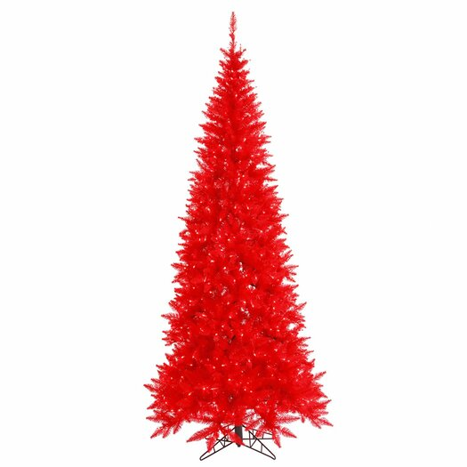 Vickerman Co. 6.5' Red Slim Fir Artificial Christmas Tree with 400 Mini Lights