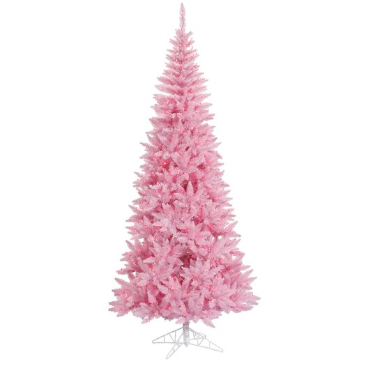 Vickerman Co. 7.5' Pink Slim Fir Artificial Christmas Tree with 500 Mini Lights