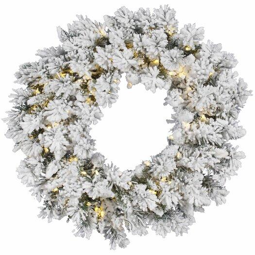 Vickerman Co. Flocked Snow Ridge Sprays Wreath with 100 LED Lights