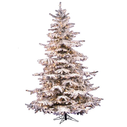Vickerman Co. Flocked Sierra Fir 8.5' White Artificial Christmas Tree with 850 Clear Lights with Stand