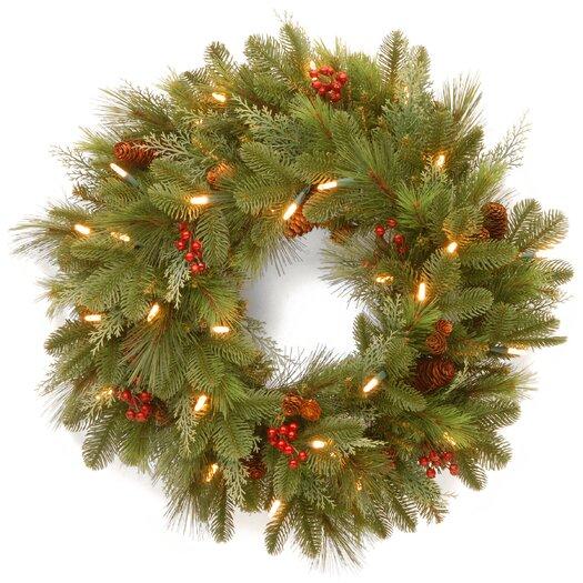 """National Tree Co. Pre-Lit 24"""" Noelle Wreath"""