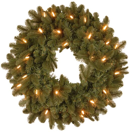 """National Tree Co. Noble Deluxe Fir Pre-Lit 24"""" Wreath"""