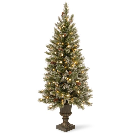 National Tree Co. Glittery Bristle Pine 5' Green Pine Entrance Artificial Christmas Tree with 150 Soft White LED Lights with Urn Base