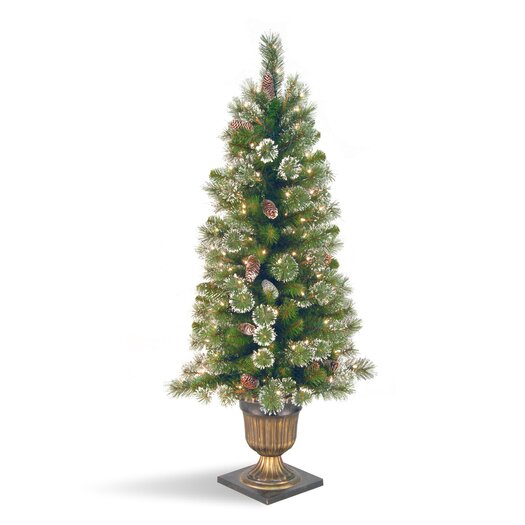 National Tree Co. Glittery Pine 4' Green Entrance Artificial Christmas Tree with 100 Pre-Lit Clear Lights with Urn Base