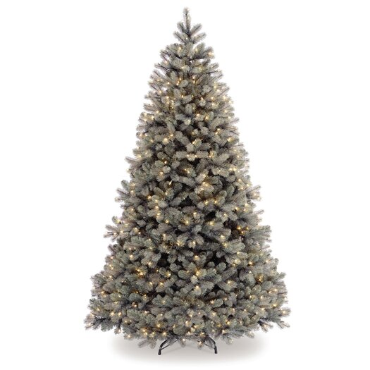 National Tree Co. Douglas 7.5' White Downswept Fir Artificial Christmas Tree with 750 Pre-Lit Clear Lights with Stand