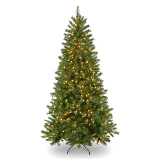 National Tree Co. Spring Lake Pine 7' Green Artificial Christmas Tree with 400 Pre-Lit Clear Lights with Stand