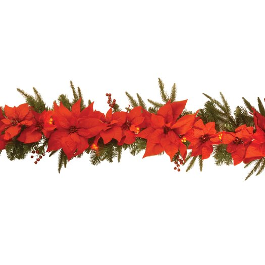 National Tree Co. Pre-Lit 6' Poinsettia Garland