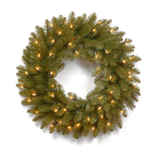 "National Tree Co. Dunhill 24"" Pre-Lit Fir Wreath"
