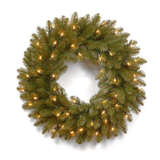 """National Tree Co. Dunhill 24"""" Pre-Lit Fir Wreath"""
