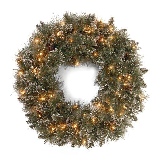 "National Tree Co. Glittery Bristle Pine Pre-Lit 30"" Wreath"