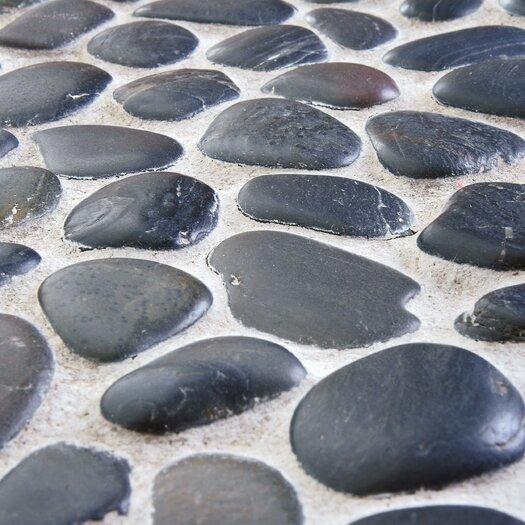 EliteTile Brook Stone Random Sized Unpolished Natural Stone Mosaic in Black