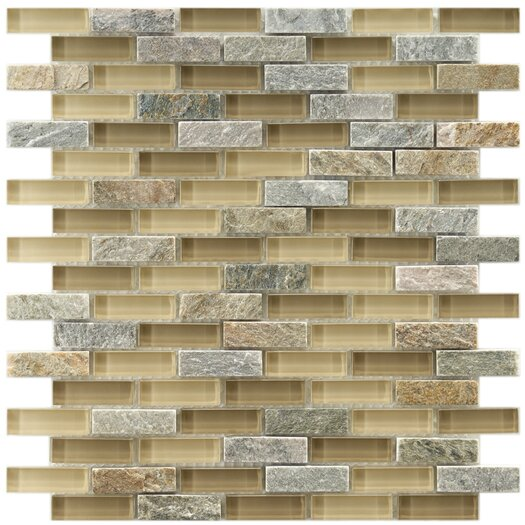 """EliteTile Sierra 1-7/8"""" x 1/2"""" Glass and Stone Polished Mosaic in Suffolk"""