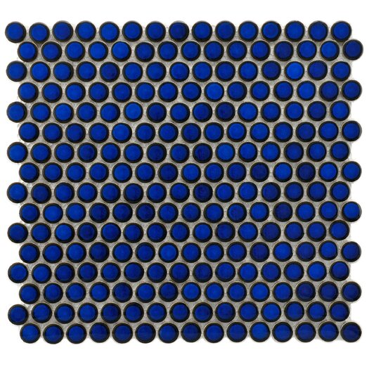 "EliteTile Penny 3/4"" x 3/4"" Porcelain Glazed and Glossy Mosaic in Blue Eye"