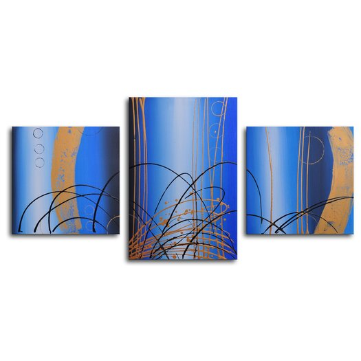 My Art Outlet Bubbling Up 3 Piece Painting Print on Canvas Set