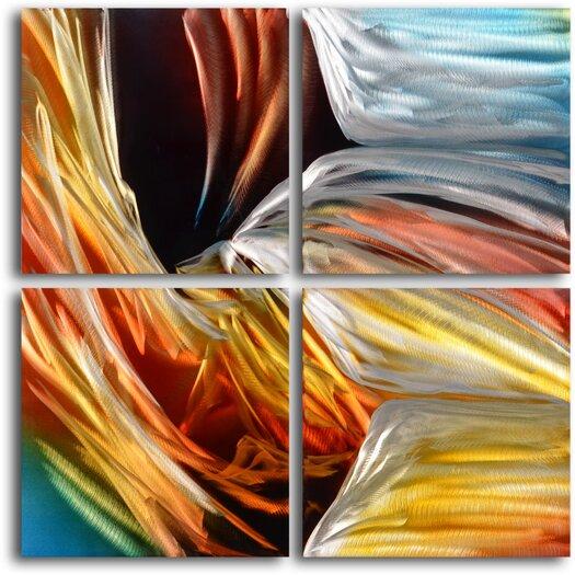 My Art Outlet Symphonic Fabric in Concert 4 Piece Original Painting Plaque Set