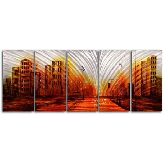 My Art Outlet Lights From The Stadium 5 Piece Original Painting Plaque Set
