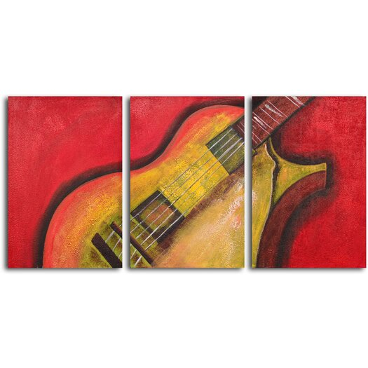 My Art Outlet Rouged Six String Guitar 3 Piece Original Painting on Canvas Set