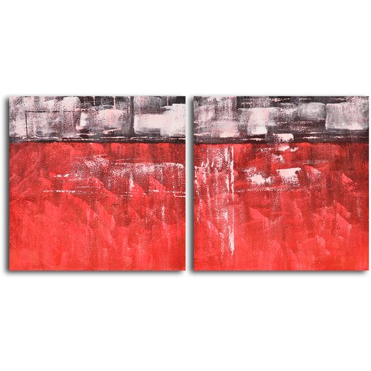 My Art Outlet 'Seeing Red and Black' 2 Piece Original Painting on Canvas Set