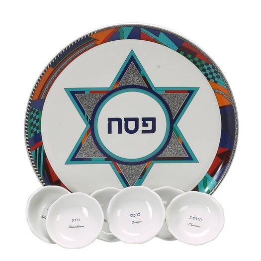 Israel Giftware Design Colorful Star of David Porcelain Seder Plate