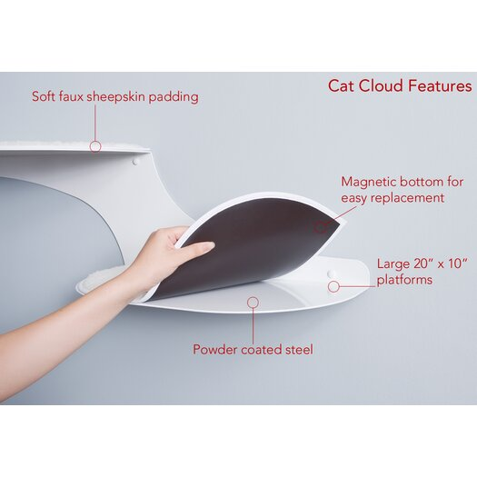 The Refined Feline Clouds Wall Mounted Cat Perch
