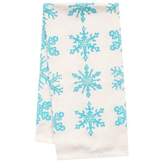 Artgoodies Organic Snowflake All Over Pattern Block Print Tea Towel