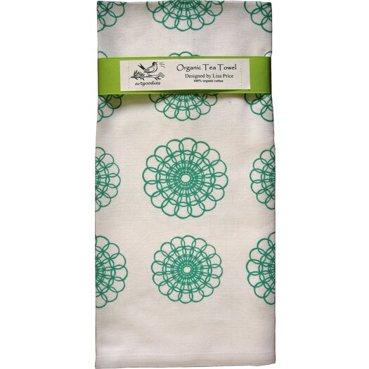 Artgoodies Organic Doily All Over Pattern Block Print Tea Towel