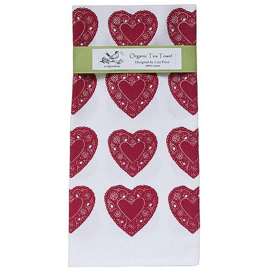 Artgoodies Organic Heart All Over Pattern Block Print Tea Towel
