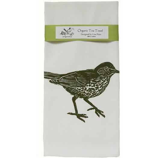 Artgoodies Organic Wood Thrush Block Print Tea Towel