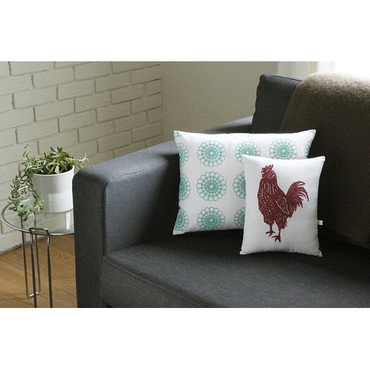 Artgoodies Rooster Block Print Squillow Accent Pillow