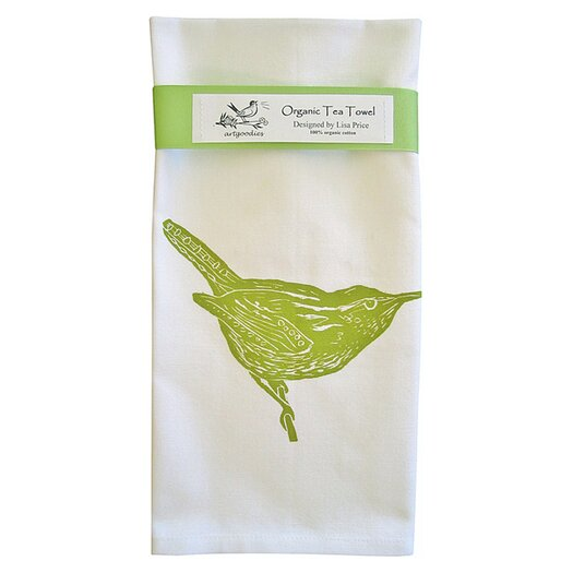 Artgoodies Organic Wren Block Print Tea Towel