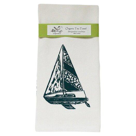 Artgoodies Organic Sailboat Block Print Tea Towel