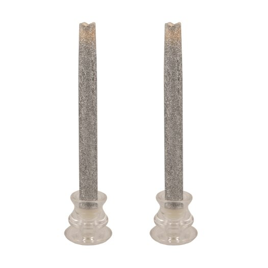 Pacific Accents Glitter Wax Flameless Tapers Candle (Set of 2)