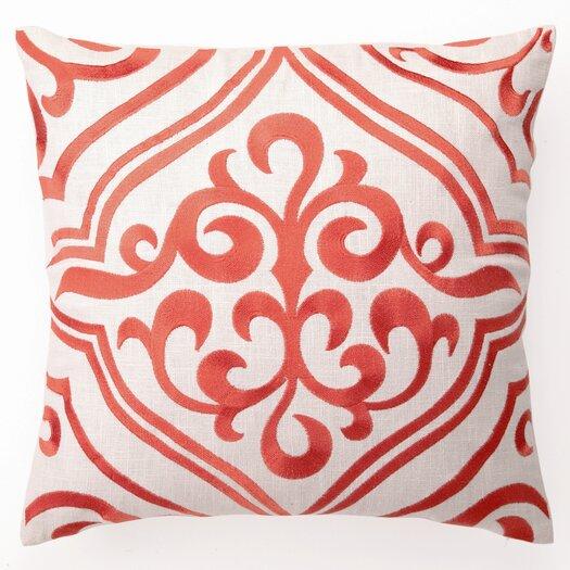 D.L. Rhein Tile Down Filled Embroidered Linen Pillow