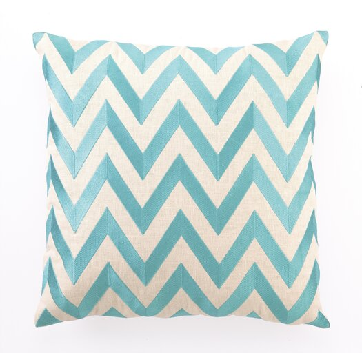 D.L. Rhein Zig Zag Down Filled Embroidered Linen Pillow