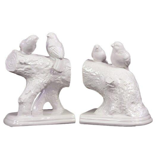 Urban Trends Ceramic Bird Standing on a Stump Bookend