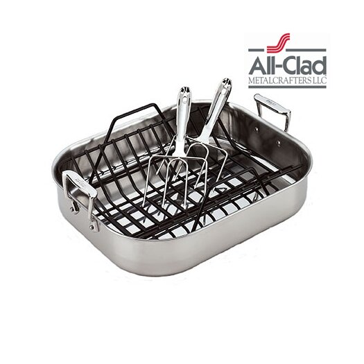 All-Clad Stainless Steel Large Roasting Pan with Rack and Turkey Forks