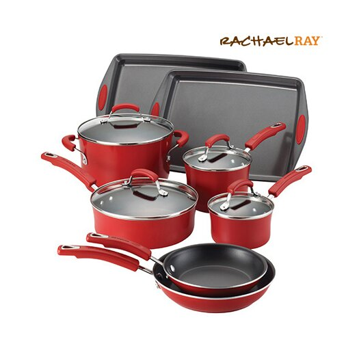 Rachael Ray Porcelain II Nonstick 12 Piece Cookware Set