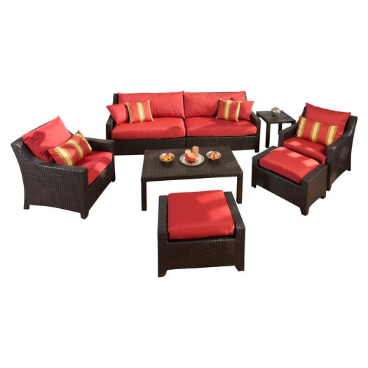 RST Outdoor Cantina 8 Piece Deep Seating Group in Espresso with Cushions
