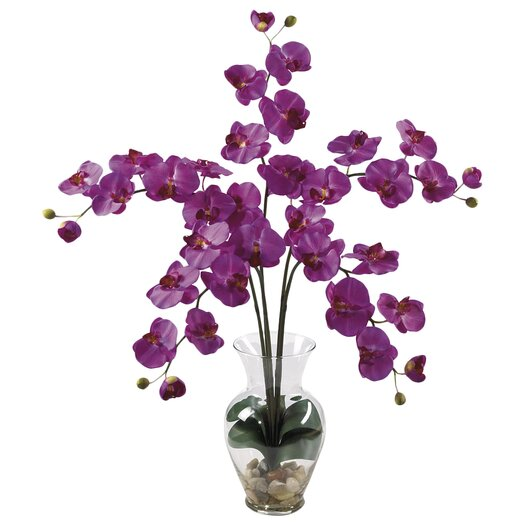 Nearly Natural Liquid Illusion Phalaenopsis Orchid in Purple with Vase
